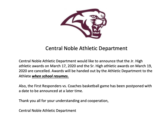 Central Noble Athletic Awards Cancelled.  Charity Basketball Game Postponed to a Later Date.