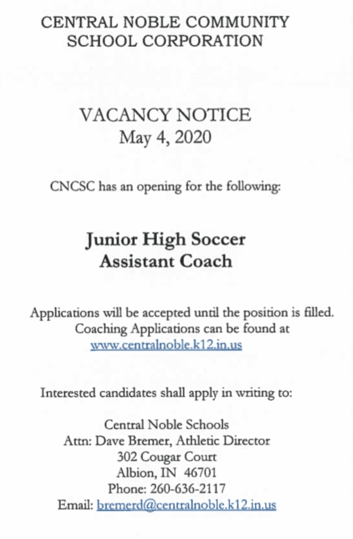Junior High Soccer Assistant Needed at Central Noble