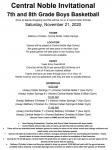 7/8 Grade Central Noble Invite Information (11/21/2020)