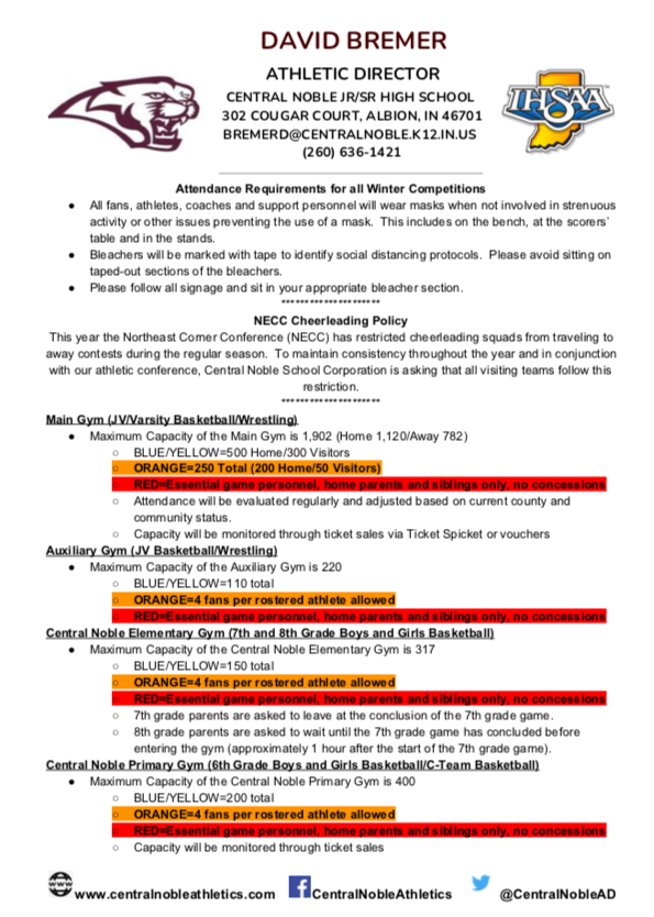 Updated Attendance Policy and Restrictions for the Week of 11/23/2020