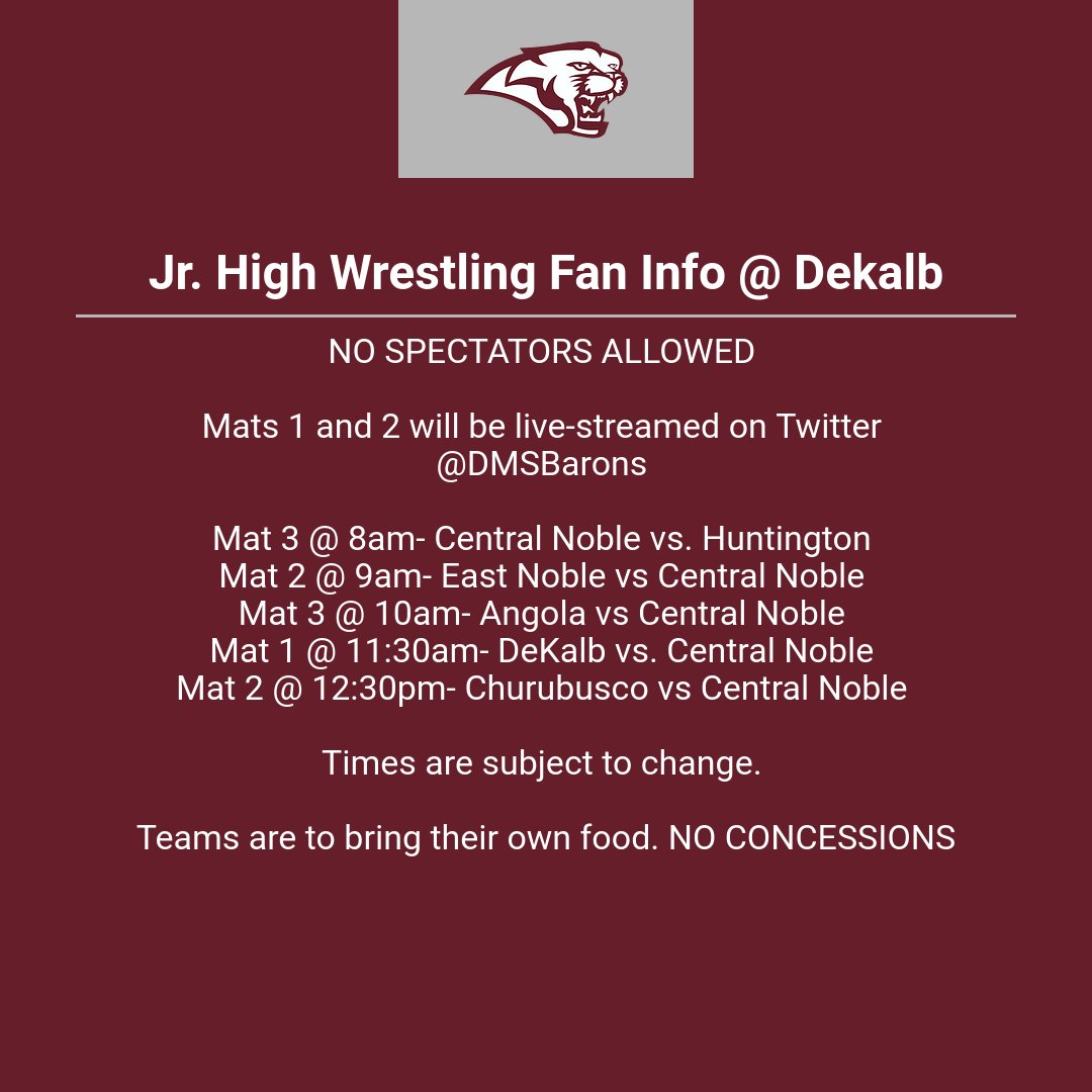 Jr. High Wrestling Fan Info @ Dekalb on 1/23