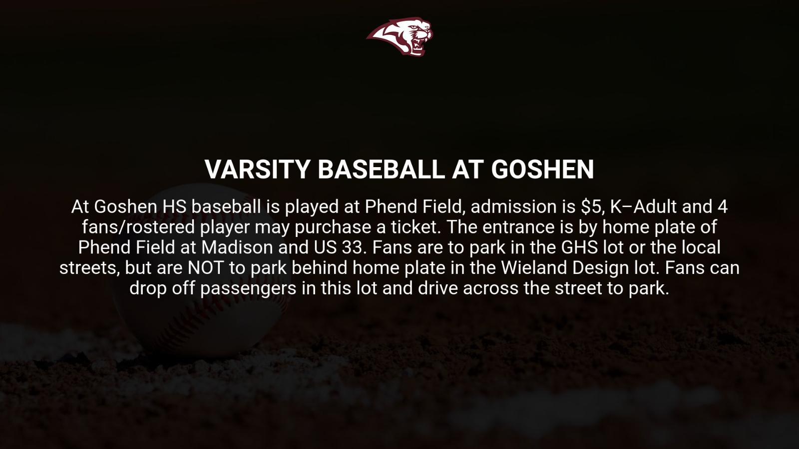 Varsity Baseball vs. Goshen