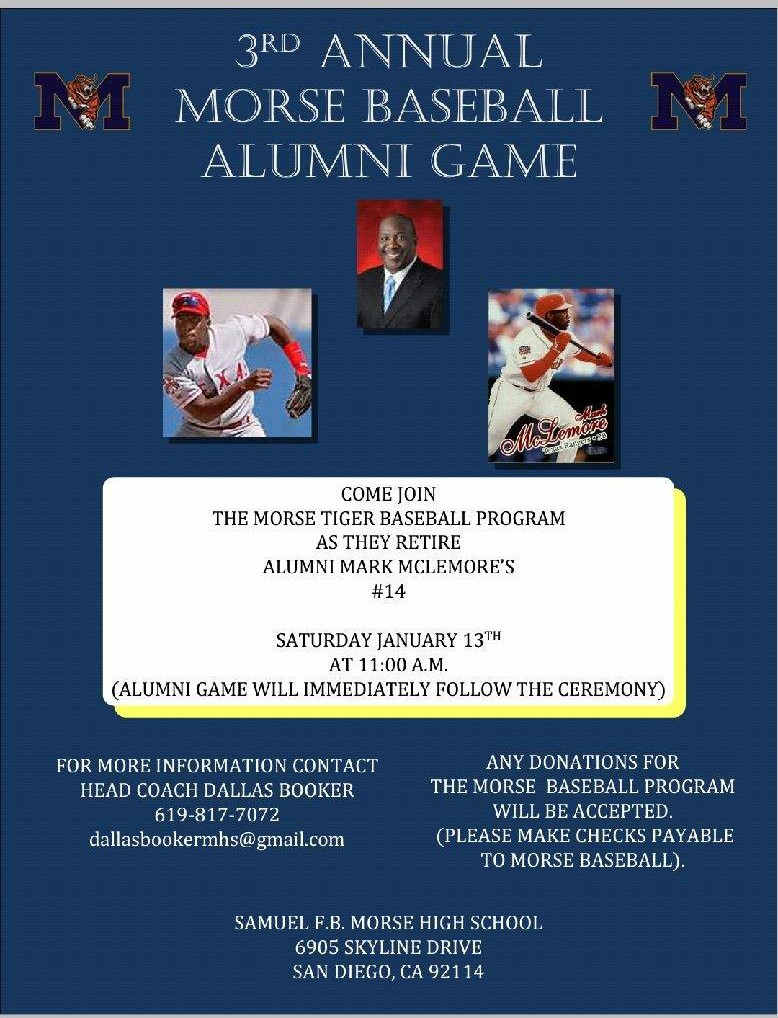 3rd Annual Alumni Baseball Game Jan.13th, 11am