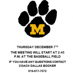 Spring Baseball Meeting, Th. Dec.7th