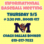 Baseball Meeting 9/5 @ 2:30