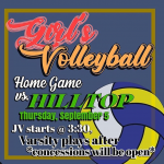 Girls VB vs Hilltop Sept.5th @ Home
