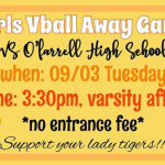 Girls VB away @ O'Farrell 9/3