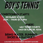 Boy's Tennis, Conditioning starts Dec.16th