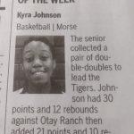 Athlete of the Week, Kyra Johnson!