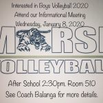 Boys Volleyball meeting Jan.8th, 2:30pm