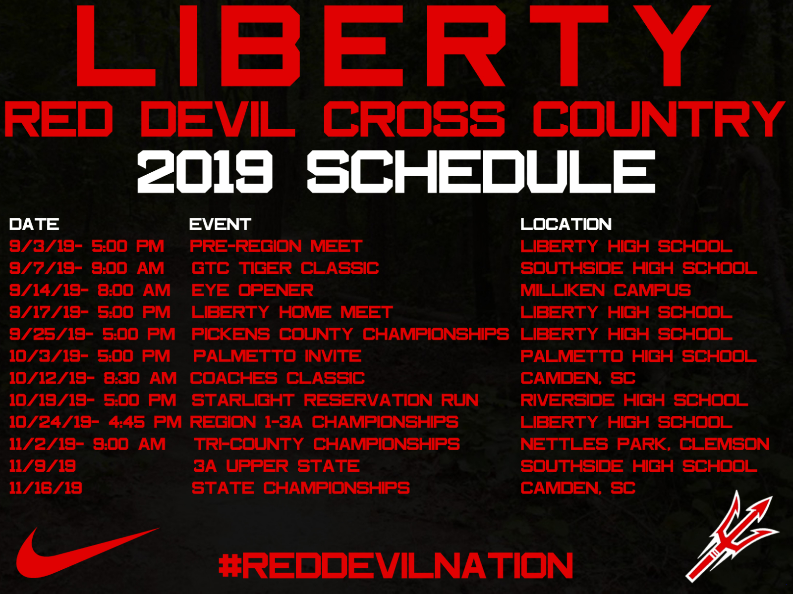 2019 Cross Country Schedule Announced