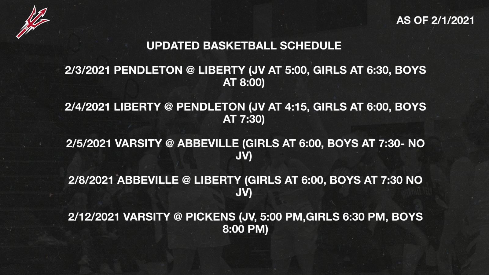 Red Devil Basketball- Rest of the Season as of 2/1/2021