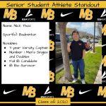 2020 Senior Student Athlete Standout–Nick Thao