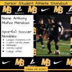 2020 Senior Student Athlete Standout–Anthony Muñoz Mendoza