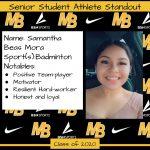 2020 Senior Student Athlete Standout – Samantha Beas Mora