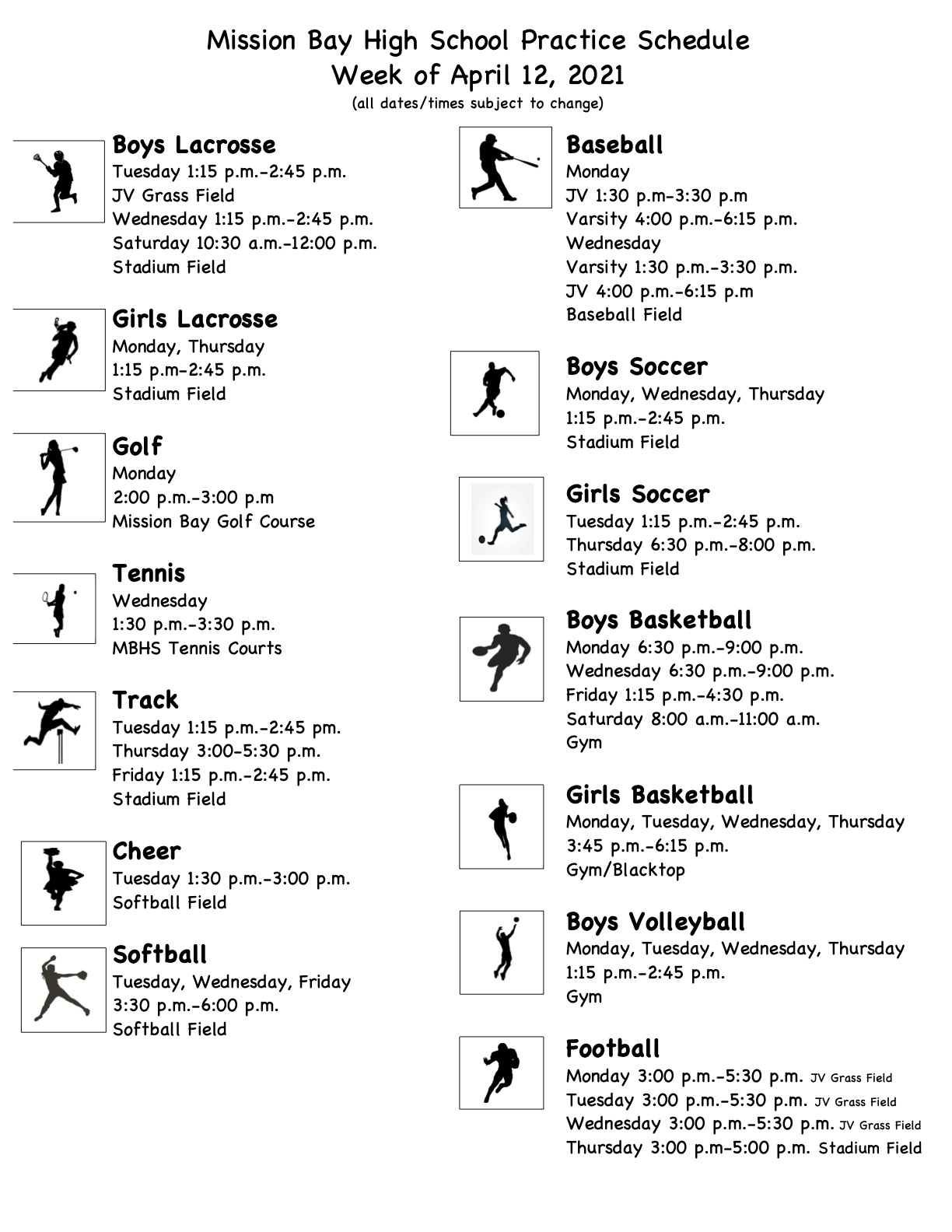 Practice Schedule for Week of April 12