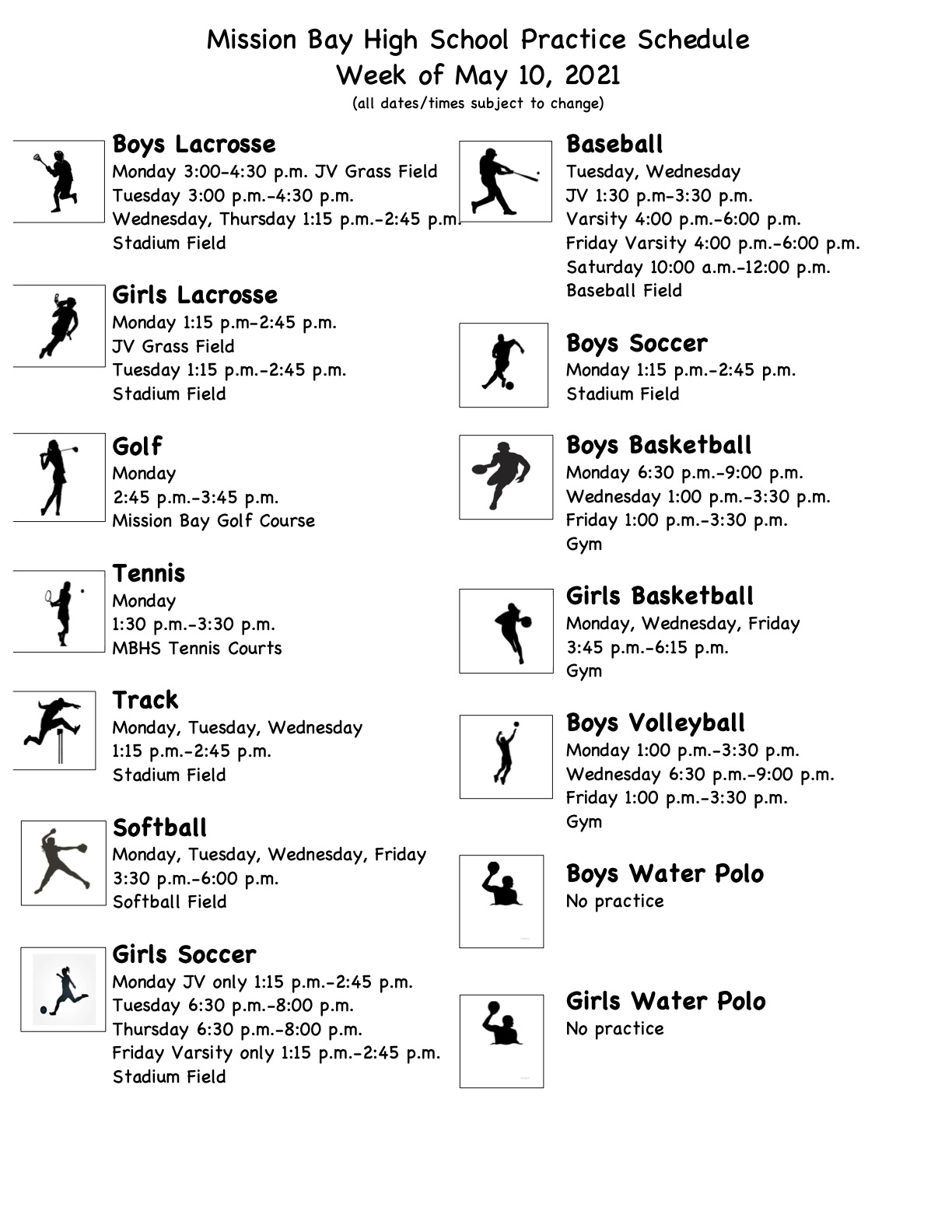Practice Schedule for Week of May 10