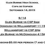 Girls Soccer tournament 9/14 @ Glen Burnie