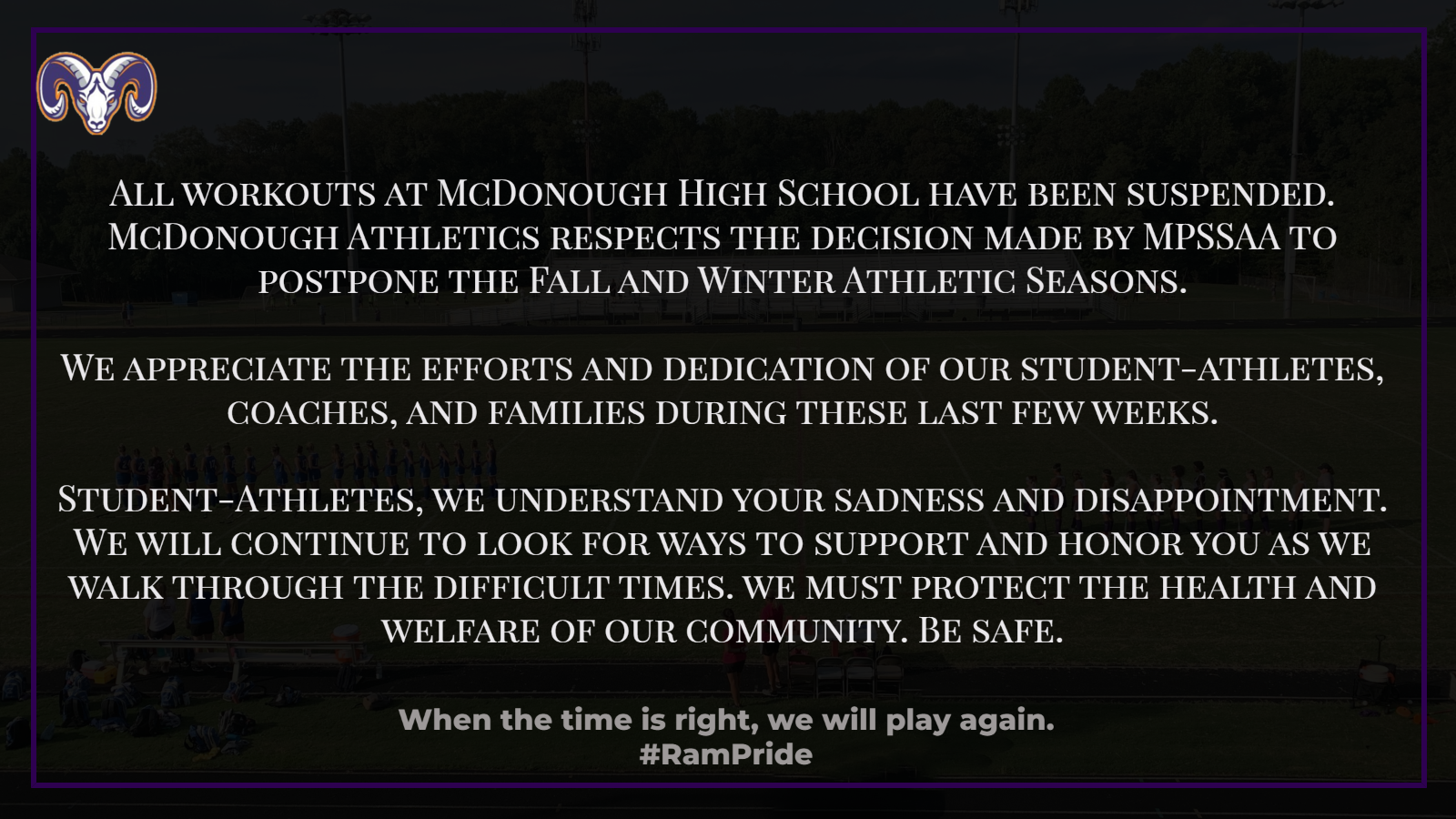 Fall Sports Workouts Suspended