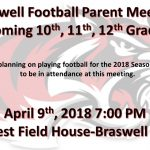 Braswell Football Parent Meeting- Incoming 10-12th Graders