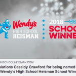 Cassidy Crawford is Tipton High School's Wendy's High School Heisman winner