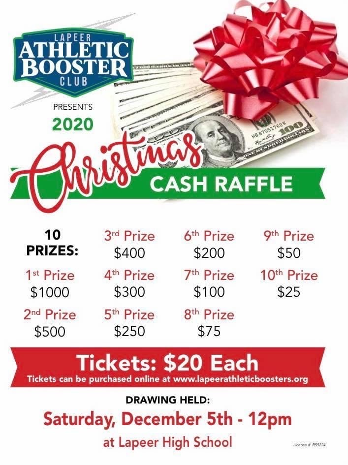 Lapeer Athletic Booster Club's Christmas Cash Raffle