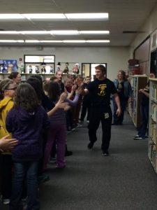 Elementary Students Congratulate Corbin For State