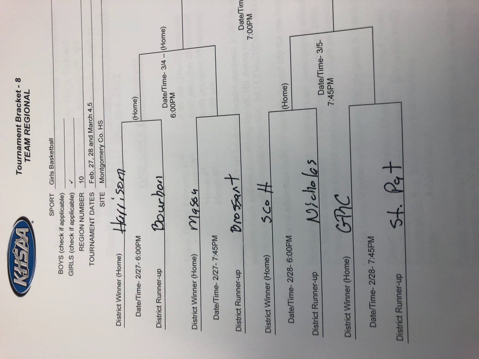 GRC Hoops draws St. Patrick for first round of the Region