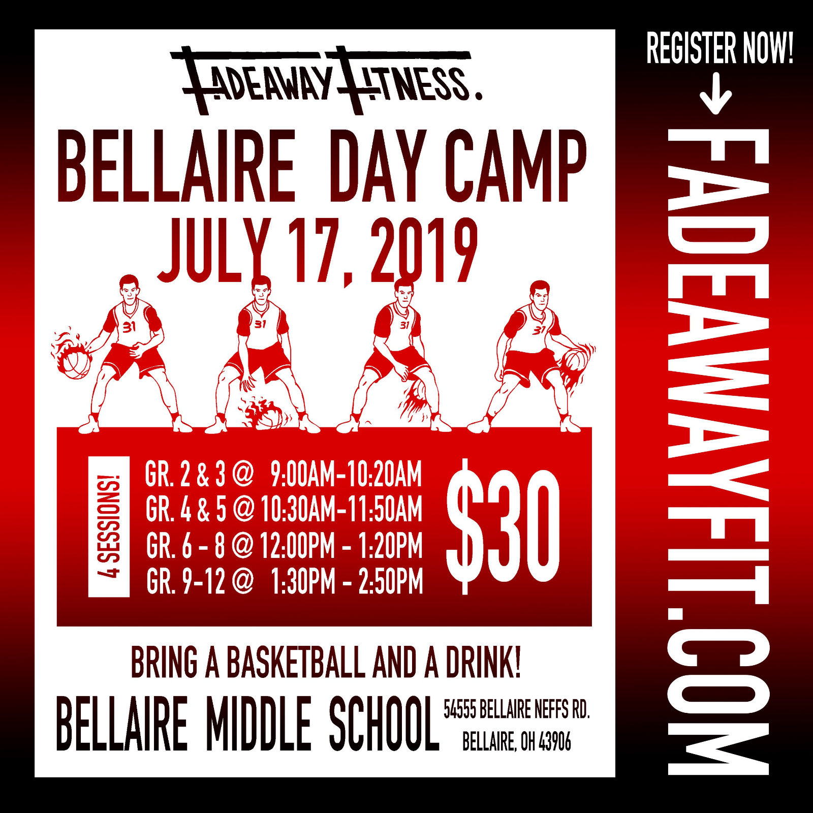 Reminder Fadeaway Fitness Basketball Day Camp to be held Wednesday at Bellaire Middle School