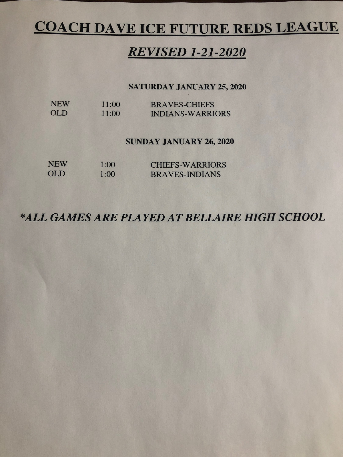 5th-6th grade league's final weekend with updated schedule