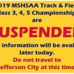 TRACK/FIELD STATE CHAMPIONSHIPS SUSPENDED