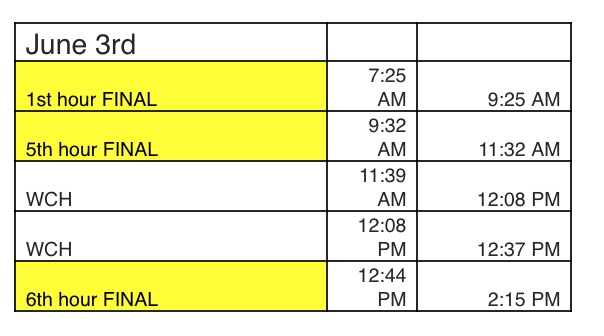 MONDAY 6/3 CLASS SCHEDULE