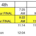 TUESDAY 6/4 CLASS SCHEDULE