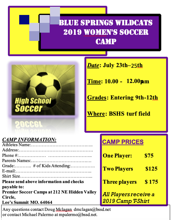 GIRLS SOCCER CAMP (9TH – 12TH GRADE TEAM CAMP)