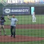 COACH DONOHOE THROWS FIRST PITCH AT ROYAL'S GAME (VIDEO)