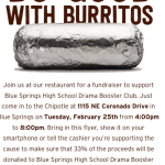 DRAMA CLUB CHIPOTLE FUNDRAISER – TONIGHT (TUESDAY, FEBRUARY 25TH: 4PM – 8PM)