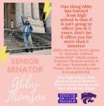 SENATE SENIOR SPOTLIGHT: ABBY THOMSON