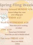SPRING FLING SPIRIT WEEK (4/26-4/30)