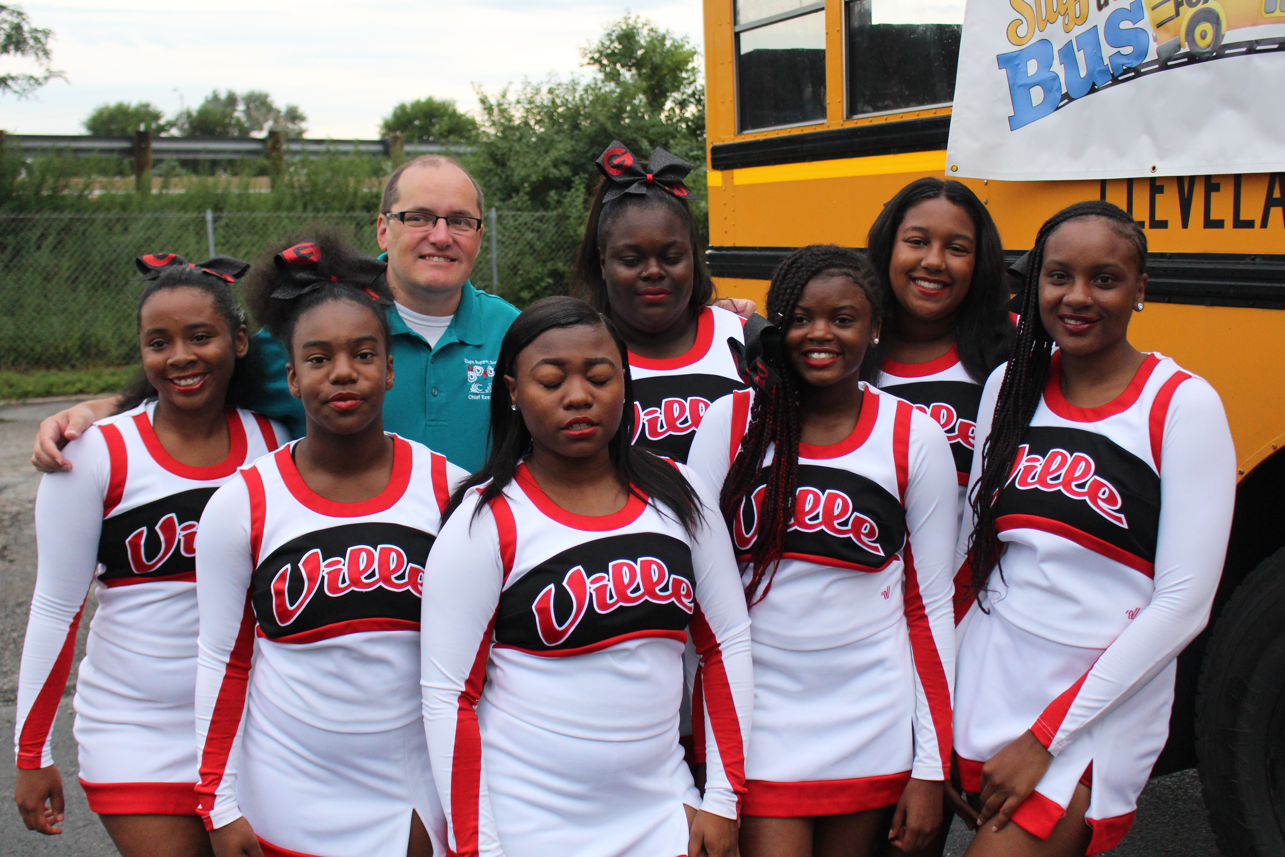 Glenville Cheerleaders Prepare for the Year-Stuff the Bus
