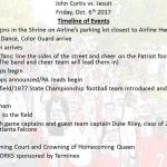 John Curtis vs. Jesuit TIMELINE of events for TONIGHT'S game!!!