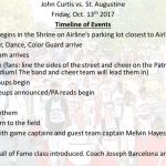 Timeline of events for tonight's Hall of Fame game vs. St. Augustine!