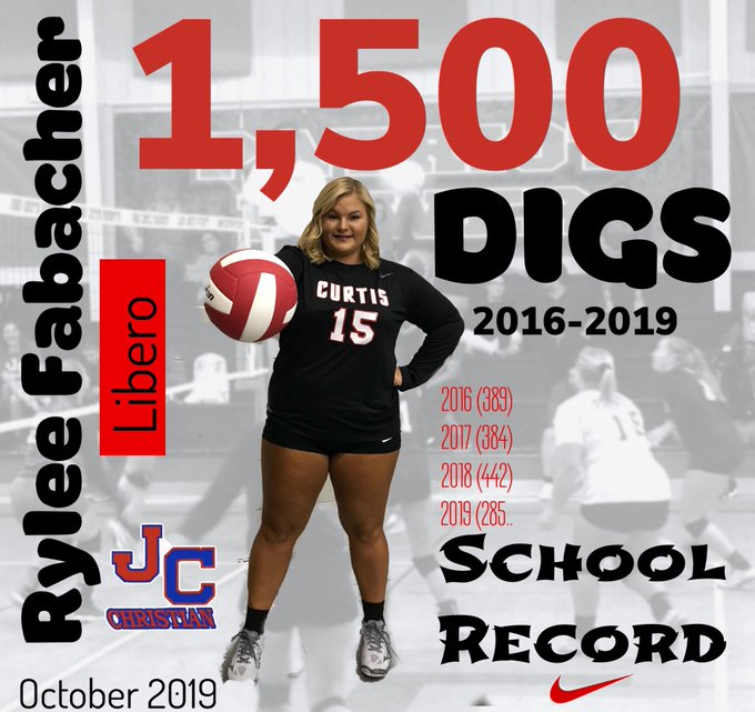 Congratulations to Rylee Fabacher for achieving 1,500 career digs!!!