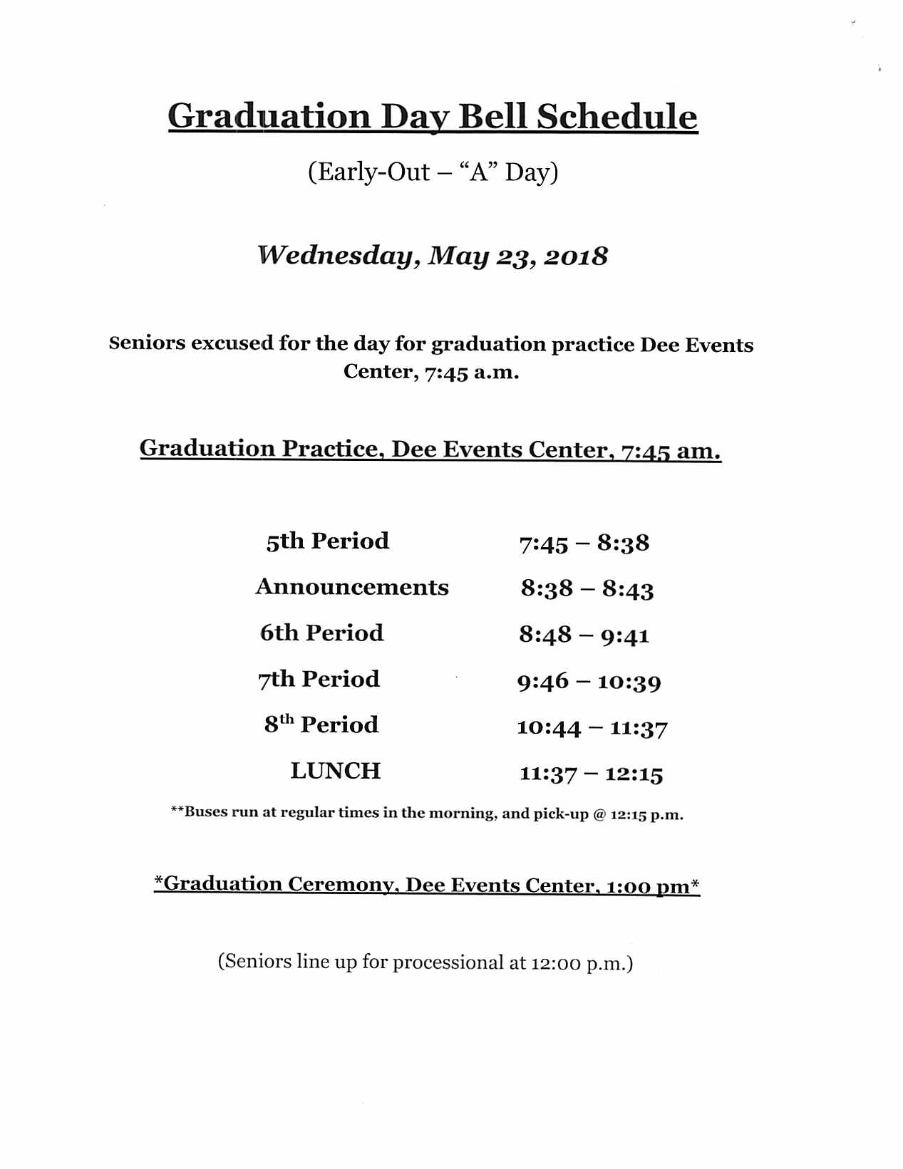 Wednesday Graduation Day Schedule