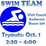 Swim Team Tryouts! Oct. 1