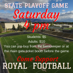 State Home Football Playoff Game vs Maple Mtn this Saturday!