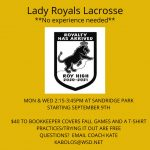 Lady Royals Lacrosse Tryouts!