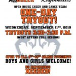 Cheerleading and Dance Team – One Day Tryout TODAY – 9/11/19 – REMINDER