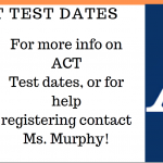 UPCOMING TEST 2/8/20 – ACT TESTING DATES – 2019-20
