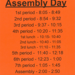 Assembly Schedule – ICAP – Thursday 1/9/20
