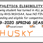 Spring Sports Eligibility Cards – AVAILABLE DURING LUNCH – Wednesday 2/26/20 – Monday 3/2/20